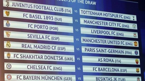 Calendario Champions Ottavi.Champions Sorteggio Ottavi Juventus Tottenham E Roma