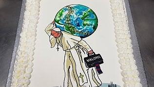 Buon compleanno Francesco: disegno dello street artist Maupalsulla torta degli 81 anni del Papa