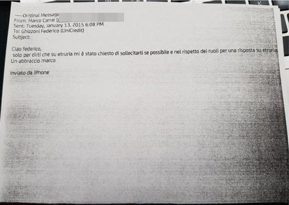 """Caso Etruria, """"Ciao Federico..."""": la mail di Carrai all'ex numero 1 di Unicredit"""