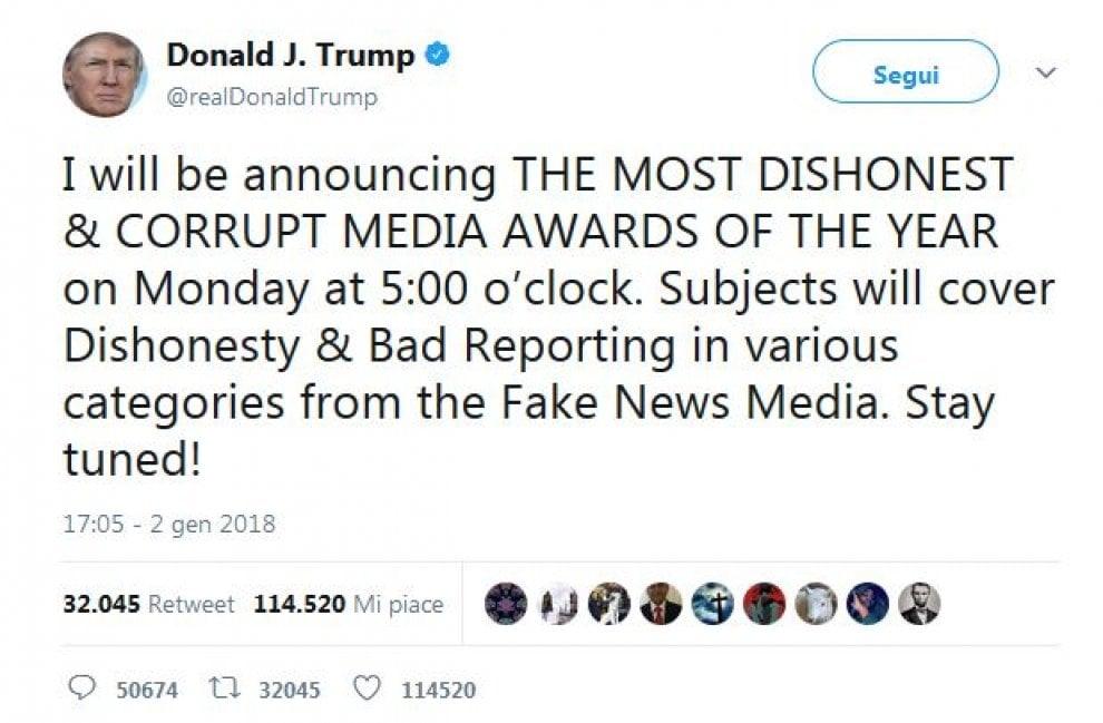 """Usa, Trump annuncia premio per """"i media corrotti e disonesti"""""""
