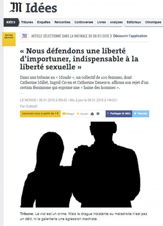 """Catherine Deneuve: """"Lasciamo agli uomini la libertà di importunarci"""""""