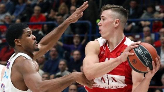 Basket, Eurolega: Milano si arrende al Cska Mosca