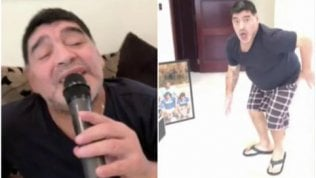 Maradona showman: si lancia con il karaoke e balla la cumbia