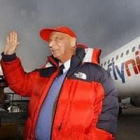 Niki Lauda alla cloche della sua storica compagnia aerea