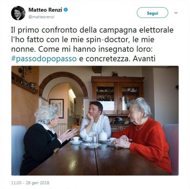 """Renzi con le nonne: """"Comincio da qui"""""""