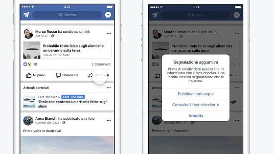 Facebook lancia fact-checking in Italia: ecco come scoprire le fake news