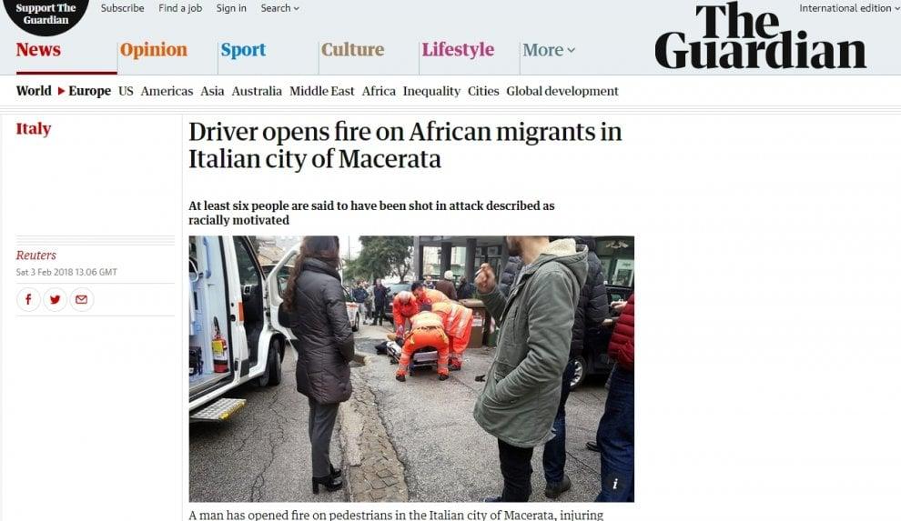 Dalla Bbc al L.A. Times: il raid razzista a Macerata su tutti i siti stranieri