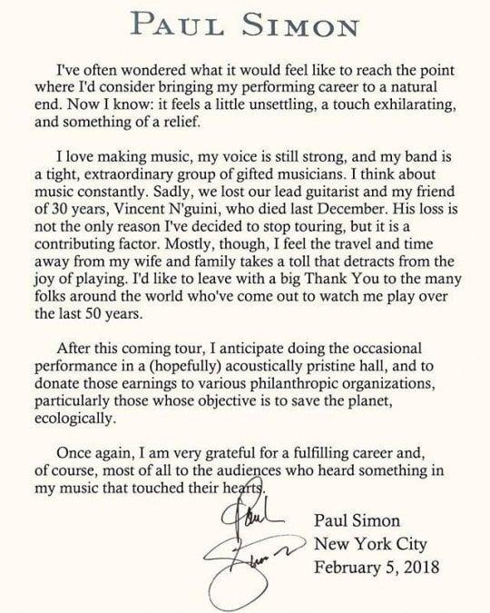 """Paul Simon, una lettera per il ritiro: """"Sono grato di aver toccato il cuore delle persone"""""""