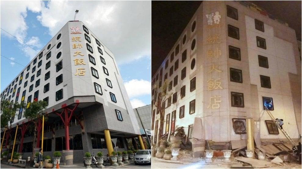 Taiwan, com'era  l'albergo crollato per il sisma: il fotoconfronto