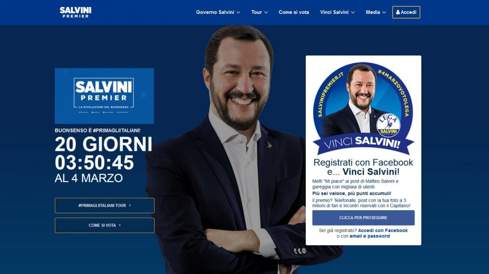 """Salvinipremier.it, il nuovo sito con il concorso """"Vinci Salvini"""""""