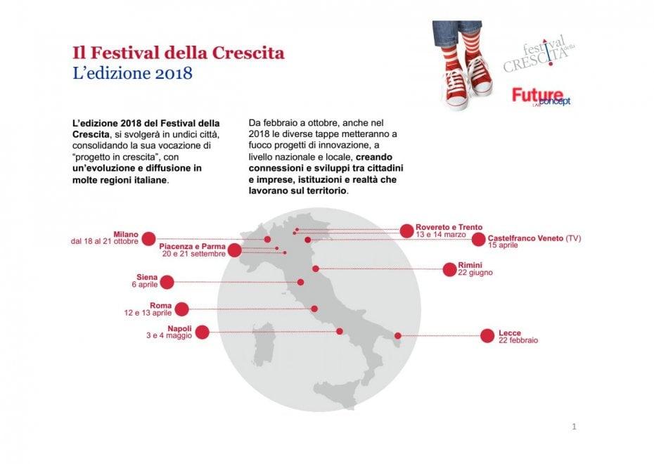 Festival della Crescita, la road map del tour 2018