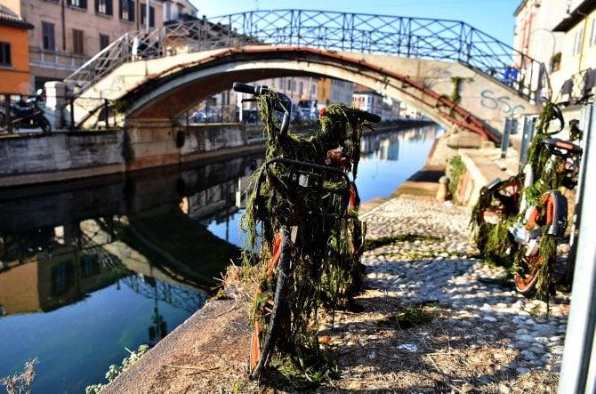 Le bici del bike sharing ripescate dal naviglio