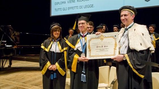 Il proffessor Sachs in occasione della cerimonia all'Università di Brescia (credit: Tiziana Arici)