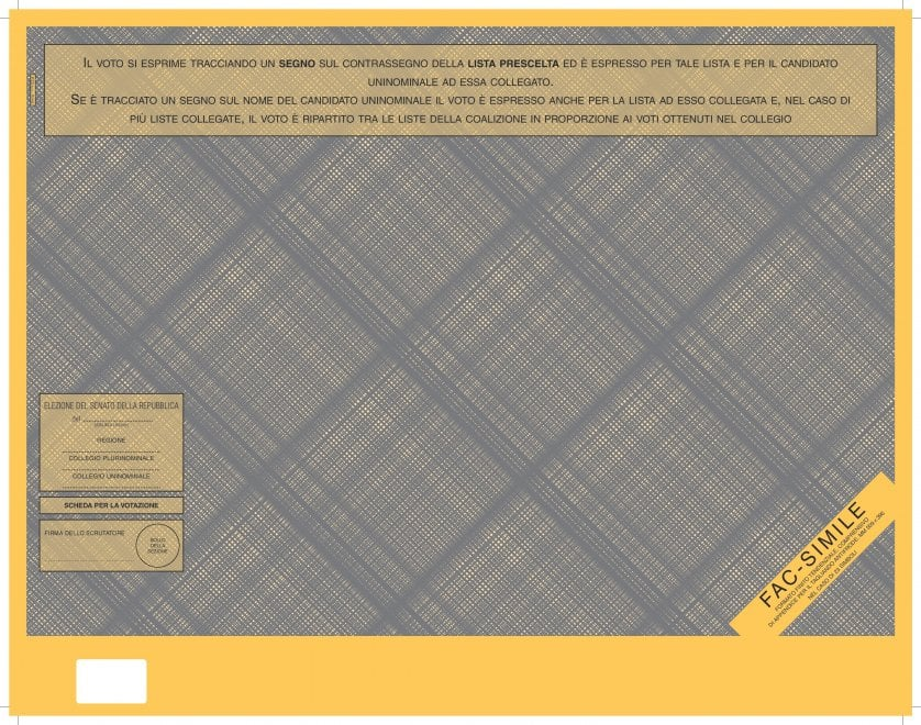 Elezioni per il Senato: il fac-simile della scheda elettorale per il Rosatellum