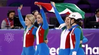 Short track, argento Italia nella staffetta femminile · fotoE bronzo nella staffetta mista di biathlon