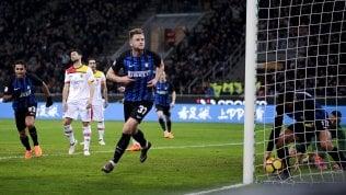 L'Inter ritrova il terzo posto:2-0 al Benevento, ma che fatica