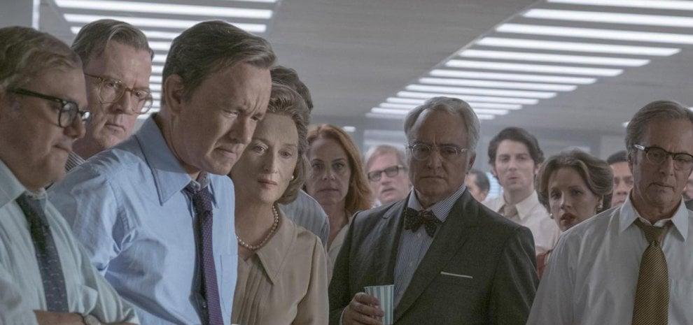 """'The Post', Spielberg, la stampa e la politica. E la madrina Charlize Theron: """"Gran bel film"""""""
