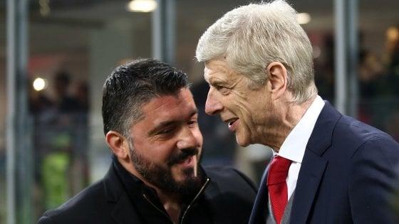 """Arsenal, Wenger: """"Non è ancora finita. Gattuso sta facendo un gran lavoro"""""""