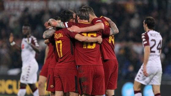 Roma-Torino 3-0, i giallorossi fanno le prove di Champions
