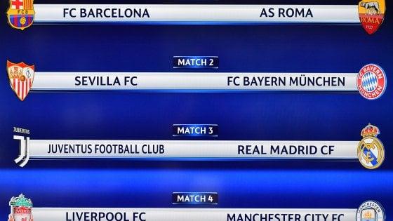 Calendario Quarti Di Finale Champions League.Sorteggio Quarti Champions Juventus Real Madrid E