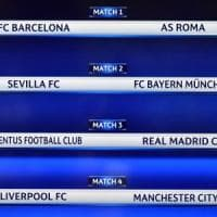 Sorteggio quarti Champions: Juventus-Real Madrid e Barcellona-Roma. E.League: