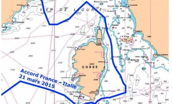 La cartina pubblicata dal ministero dell'Ecologia francese nei mesi scorsi con i confini sbagliati a scapito dell'Italia