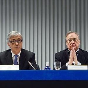 Florentino Perez (a sx), presidente di Acs, e Giovanni Castellucci, ad di Atlantia