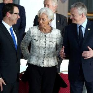 Christine Lagarde, ritratta con il Segretario Mnuchin e il ministro francese Le Maire