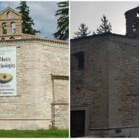 Terremoto nel Maceratese: il campanile di Santa Maria di Varano prima e dopo la scossa