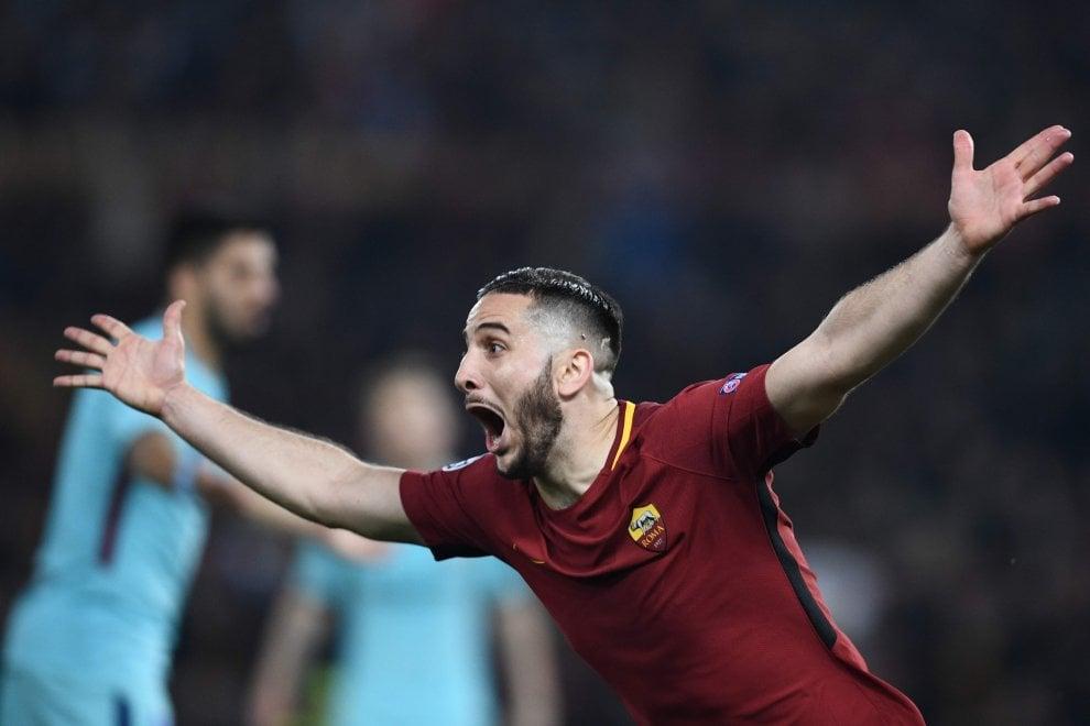 Roma-Barcellona, Manolas come Tardelli: l'urlo incredulo per il gol del 3-0