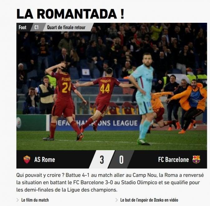 """Roma-Barcellona, l'impresa giallorossa sui siti stranieri: """"Romantada"""""""