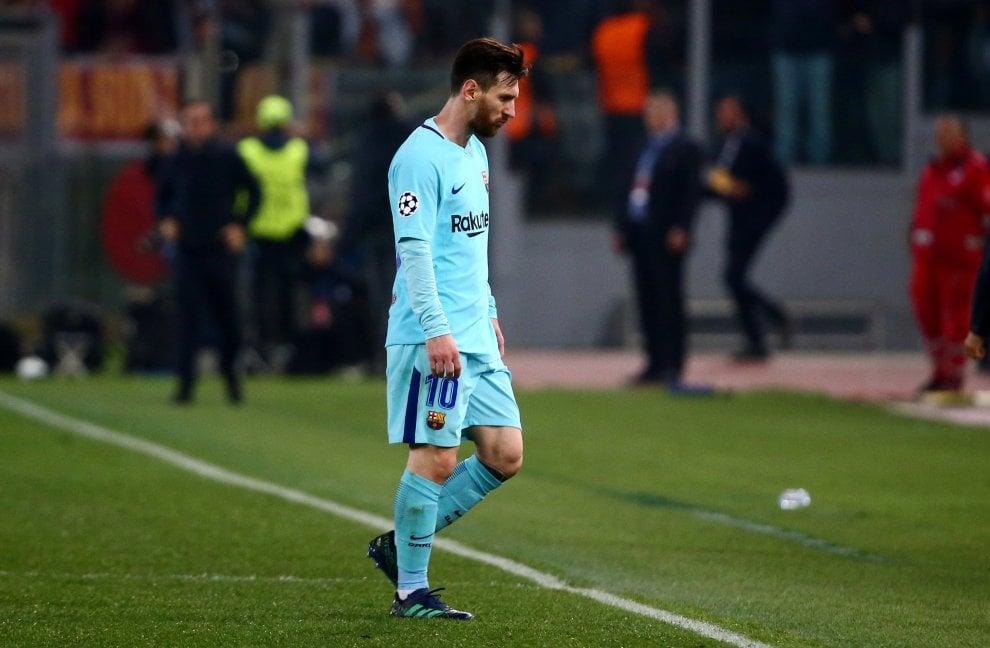Roma-Barcellona, il volto della sconfitta: Messi e compagni fuori dalla Champions