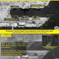 Siria, salpano le navi russe dal porto di Tartus: le immagini satellitari