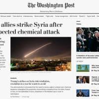 La notizia dell'attacco in Siria sui siti dei quotidiani americani, inglesi e francesi