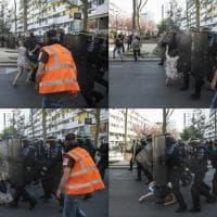 Parigi, la fragile 'resistenza' della manifestante: donna calpestata dalla polizia