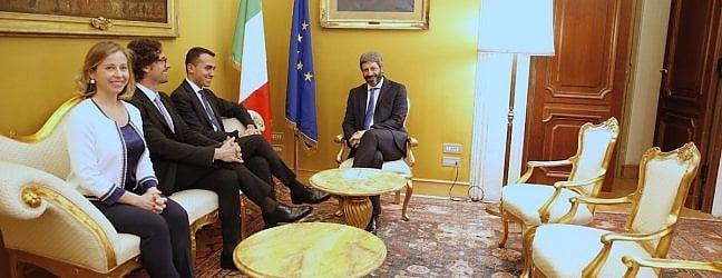 La delegazione M5S a Montecitorio per l'incontro con il presidente Fico