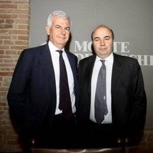 Alessandro Profumo, a sinistra, e Fabrizio Viola rispettivamente ex presidente e amministratore delegato del Monte dei Paschi di Siena