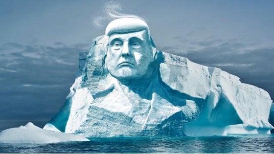 Artico, la sfida dell'ong: Trump scolpito nel ghiaccio per dimostrare che il riscaldamento globale esiste