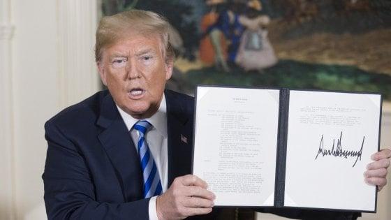 """Nucleare Iran, Trump annuncia: Usa fuori da accordo. """"Tornano sanzioni, anche a chi aiuta Teheran"""""""
