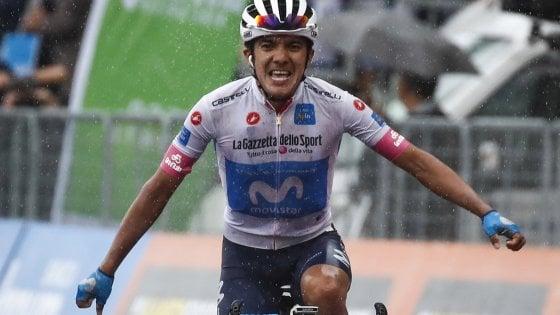 Giro d'Italia, impresa Carapaz: è la prima dell'Ecuador. Yates resta in rosa, Froome cade ma si salva