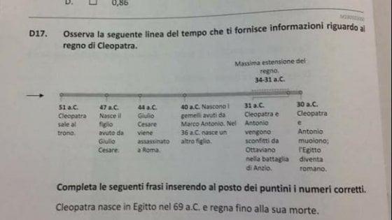 """La gaffe nel test Invalsi: """"Antonio e Cleopatra sconfitti ad Anzio"""""""
