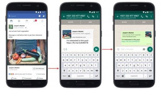 Facebook, a breve potrai condividere i post direttamente su WhatsApp