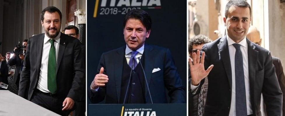 Resultado de imagen de Giuseppe Conte, di maio, salvini