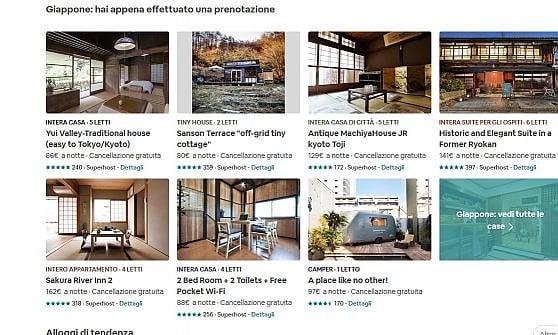 Airbnb, stangata giapponese: rimossi l'80 per cento degli annunci
