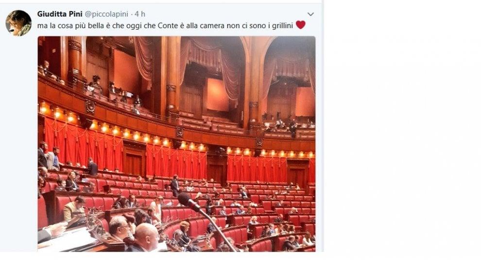Pini (Pd) twitta la foto dei banchi vuoti dei grillini alla Camera