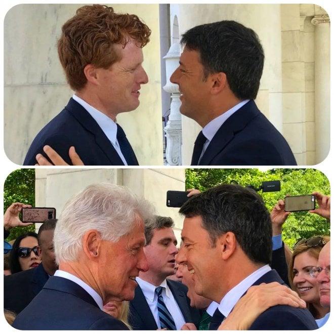 """Renzi abbraccia Clinton: """"Un onore partecipare alla cerimonia in memoria di Bob Kennedy"""""""