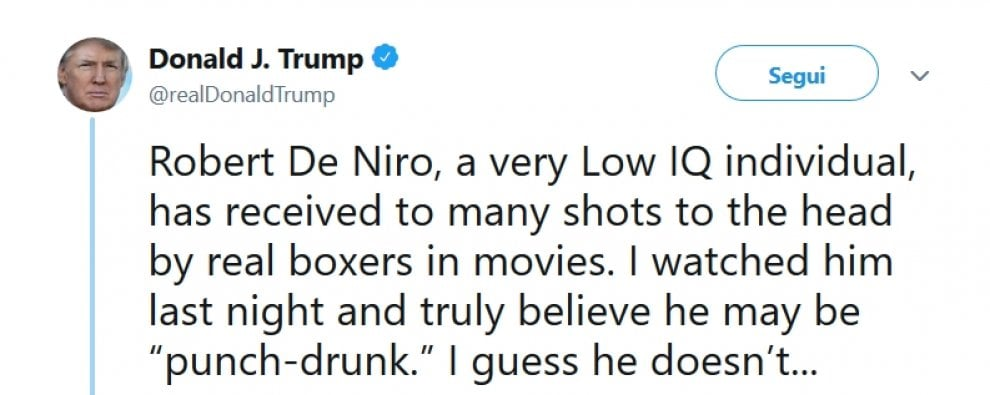 """Usa, Trump replica all'attacco di De Niro: """"Individuo con un quoziente intellettivo molto basso"""""""