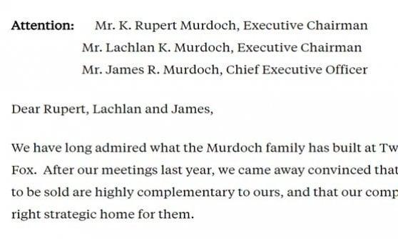 La lettera di Comcast alla famiglia Murdoch