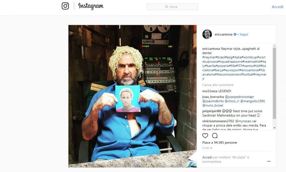 """Cantona prende in giro il nuovo look di Neymar. E i capelli di O'Rey diventano """"spaghetti al dente"""""""