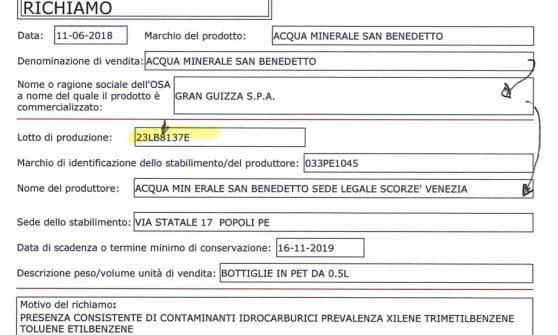 """""""Acqua contaminata"""", il ministero della Salute ritira un lotto di San Benedetto"""